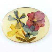 Vintage Gold Tone Floral Signed Amapola Lapel Pin Brooch
