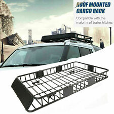 "64"" Universal Steel Roof Rack Cargo Carrier w/ Extension Luggage Hold Basket SUV"