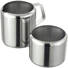 Stainless Steel Sugar & Cream Set Bowl Jug Tea Coffee Serving Table Storage Trip
