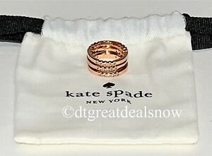 """NEW Kate Spade """"Full Circle"""" Stackable 3-Ring Rose Gold Plated Size 7"""