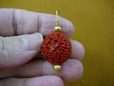 J-4) RED CINNABAR Pendant necklace carved wood lacquer flower bead loop jewelry