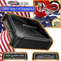 NEW - Pioneer GM-D8704 Car Audio 4-Channel Amplifier 1200W + 4 Channel Amp Kit