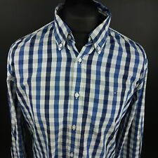Tommy Hilfiger Mens 2 Ply Shirt LARGE Long Sleeve Blue Custom Fit Check Cotton