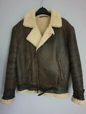 MOSCOAT Mens Sheepskin Flying Bomber Jacket Shearling Lambskin Leather Brown M