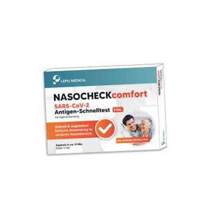 Lepu Medical NASOCHECK comfort Nasenabstrich Laien Corona Schnelltest 5er Pack