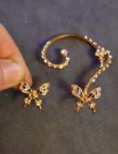 Goldtone Rhinestone Butterfly Crawler Earring Plus Matching Stud Set