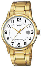 Casio Mens White Face Gold Analog Steel Band MTP-V002G-7B Date Fashion Watch New