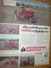VINTAGE IHC FARMALL  ADVERTISING  -CUB - M  TRACTORS & PLANTERS -1950
