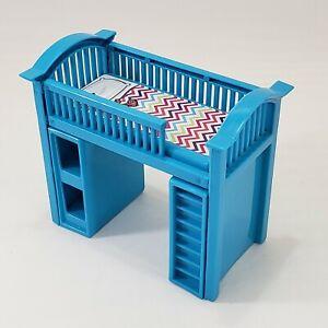 "Doll Furniture Bunk Bed Blue Plastic 6.5"" x 6"" for 5"" Dolls Bedroom"