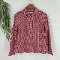 Southern Tide Womens Popover Shirt Size S Red Gingham Top Plaid Long Sleeve A8