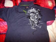 Point Zero Collared short sleeve Shirt   buttons Crowned Skull T-Shirt L punk
