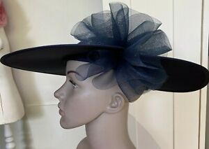 Vintage 1980s Navy Hat Nigel Rayment for Genevieve Louis Designs, Size M/L
