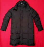 LL Bean Women M Reg Long Winter Puffer Goose Down Coat Hood Black Jacket