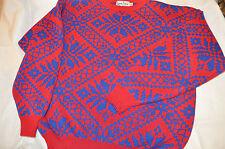Snow Flake Sweater Blue and RED 100% WOOLKaelin Ski Wear  Peter Steinebronn
