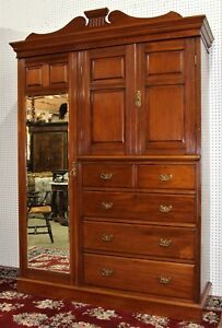 Antique English Edwardian Solid Walnut Armoire Wardrobe Chest Circa 1890