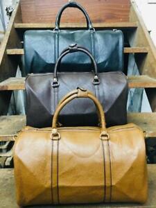Italian Leather Style Holdall Luggage Weekend Duffel Designer Cabin Travel Bag