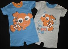 Baby Boys Romper Set 2 Disney Nemo Bodysuit One Piece Outfit Licensed Blue NEW 0