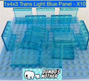 LEGO 1x4x3 Panel Trans Light Blue Transparent Wall Glass Hollow studs NEW X10