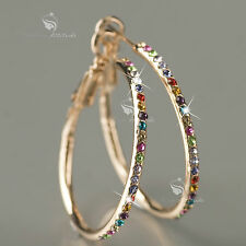 18k rose gold gp made with SWAROVSKI crystal hoop stud earrings hoops colorful