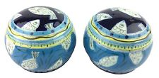 Round Ceramic Salt Pepper Shaker Set Blue Yellow 1998 Hand Painted with Fish