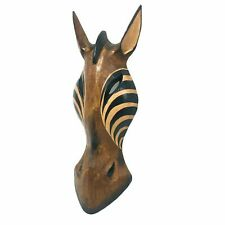 Horse Wooden Mask Brown Hand Carved African Safari Animal Wall Hanging 12 inch