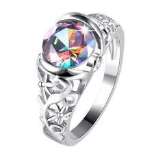 Hollow Rainbow Topaz Man Women Ring Wedding Jewelry Size 7,8,9 Best Gifts NEW