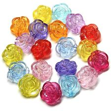 ACRYLIC SPACER BEADS ROUND ROSETTE 12mm MULTI COLOR 100pc