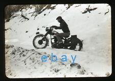 1950s B/W Photo slide Man riding a motorcycle