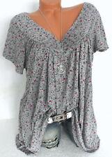 Tunika Shirt Hängerchen Bluse Longshirt Blümchen Italy Übergröße Grau 46 48 50