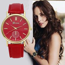 Hot Geneva Watch Women Leather Band Round Case Analog Quartz Vogue Wrist Watches