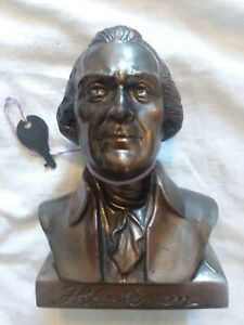 Thomas Jefferson bust bank BLACK CREEK WI w ORIGINAL KEY (Banthrico co.)