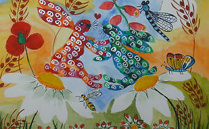 """Fridge Magnet, Quirky Hares in Love on a Mushroom small  2"""" by 3.5"""""""