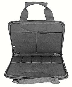Deluxe Black Thick Padded Concealed Double Pistol Case 2 Hand Guns Pouch Mag Bag