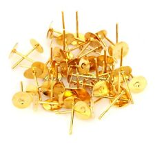 100 x 6mm SILVER TONE FLAT PAD STUDS earring posts 100 free backs 1ST CLASS POST