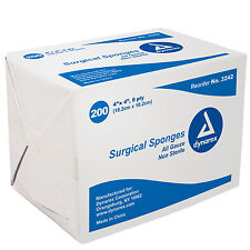 200 Surgical Gauze Sponges Dynarex 4 x 4 8 ply Bandages Wound Non-Sterile 3242