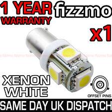 5 SMD LED 433 433c 434 BAX9S H6W OFFSET BAYONET CAP BRIGHT WHITE SIDE LIGHT BULB