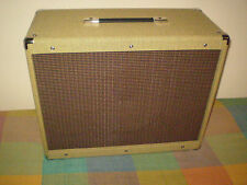 """EB 1 x 12"""" Vintage style guitar cabinet. Real tweed covering Oxblood with stripe"""