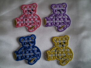 10 x 100% EMBROIDERY IRON ON SITTING TEDDY BEAR PATCH PINK PURPLE NAVY YELLOW A+