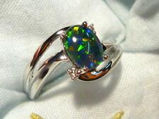 Opal Ring Ladies 14ct White Gold & Diamond 8x6 mm Oval Triplet item 90506.