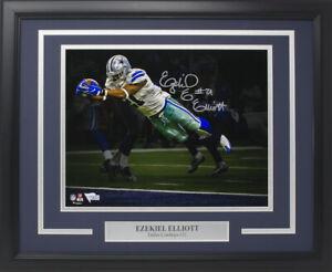 Dallas Cowboys Ezekiel Elliott Autographed 16x20 Custom Framed Photo FanaticsCOA
