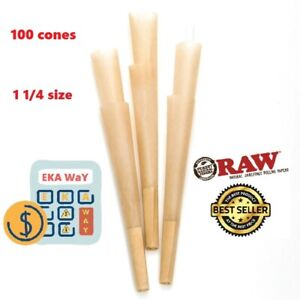 RAW Cones Classic 1 1/4Size |100 Pack| Natural Pre Rolled Rolling Paper W/filter