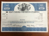 Equity Funding Corp. 1971 Stock Certificate - Early Wall Street Scandal Vintage