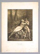 """Lithographie en teinte, J. BOILLY d'après PRUD'HON, """"Vénus et Adonis"""", 19ème"""