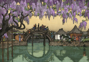 Japanese Art Woodblock Print Shin Hanga Wisteria, Half Moon Bridge YOSHIDA TOSHI