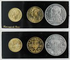 REUNION  COFFRET  3  ESSAIS  , 5 FRANCS ,  10 FRANCS , 20 FRANCS , FLEUR DE COIN