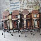 Set of 4 Metal Adjustable Swivel Backrest Pub Bar Stools Counter Chair Indoor