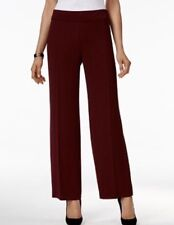 Alfani Womens Pants Sz Large Red Maroon Stretch Wide Leg Easy Pieces Pull On NEW