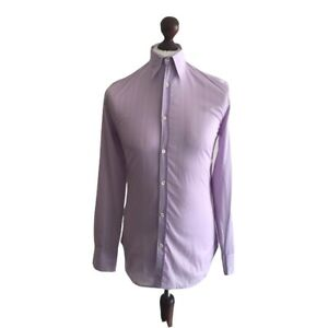 New Paul Smith Designer Mens Lilac 100% Cotton Casual L/ Sleeved Shirt UK S £125