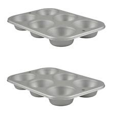 Lot of 2 Muffin Cupcake Biscuit Pans Metal Tin Steel Bakeware Free Shipping