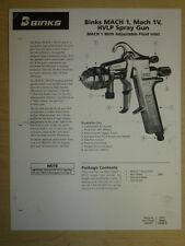 BINKS MACH 1, MACH 1V HVLP AIR SPRAY GUN PARTS / USER MANUAL